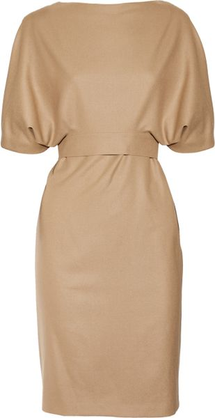 Gucci Belted Woolblend Dress in Beige (camel) - Lyst