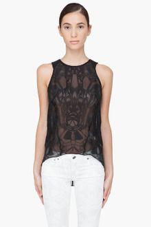 Helmut Lang Leather Trimmed Spider Tank Top - Lyst