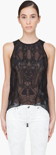 Helmut Lang Leather Trimmed Spider Tank Top in Black - Lyst