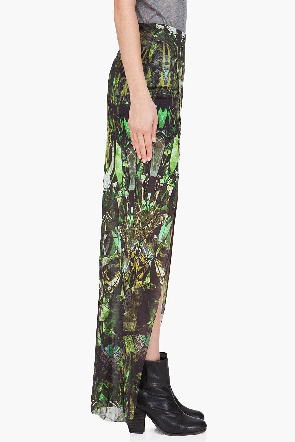helmut lang spiderweb print split jersey maxi skirt in