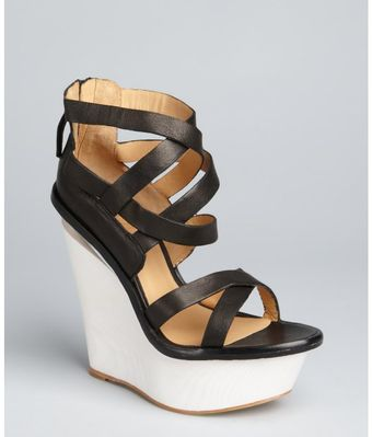 L.a.m.b. Black Leather Midori Wedge Sandals - Lyst