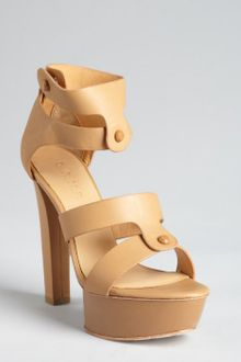 L.a.m.b. Tan Leather Mollie Cutout Platform Sandals - Lyst