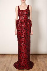 Lanvin Glazed Floral Brocade Gown in Red - Lyst