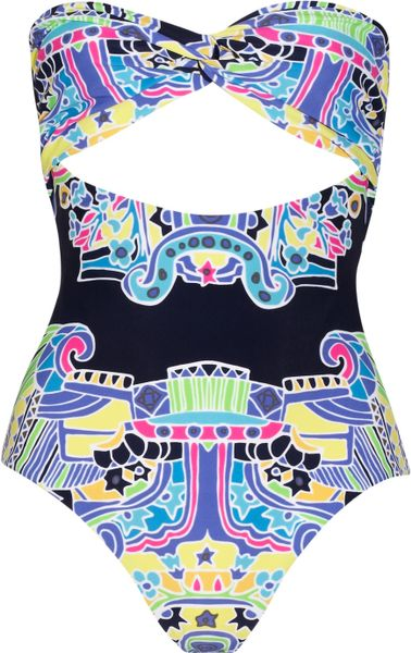 Mara Hoffman Carnival Printed Bandeau Swimsuit in Multicolor (multicolored) - Lyst