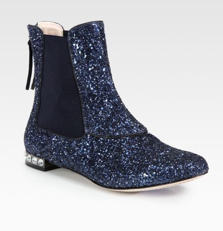 Miu Miu Glitter Leather And Jewel Ankle Boots in Blue (navy) - Lyst