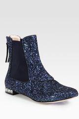 Miu Miu Glitter Leather And Jewel Ankle Boots - Lyst