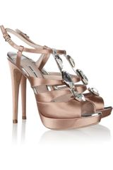 Miu Miu Crystalembellished Satin Sandals - Lyst