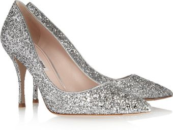 Miu Miu Pointed Glitterfinish Leather Pumps - Lyst