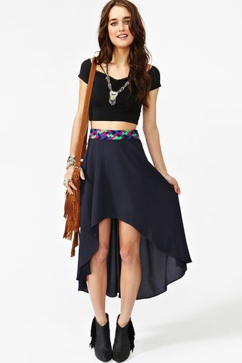 Nasty Gal Braided Tail Skirt Navy - Lyst