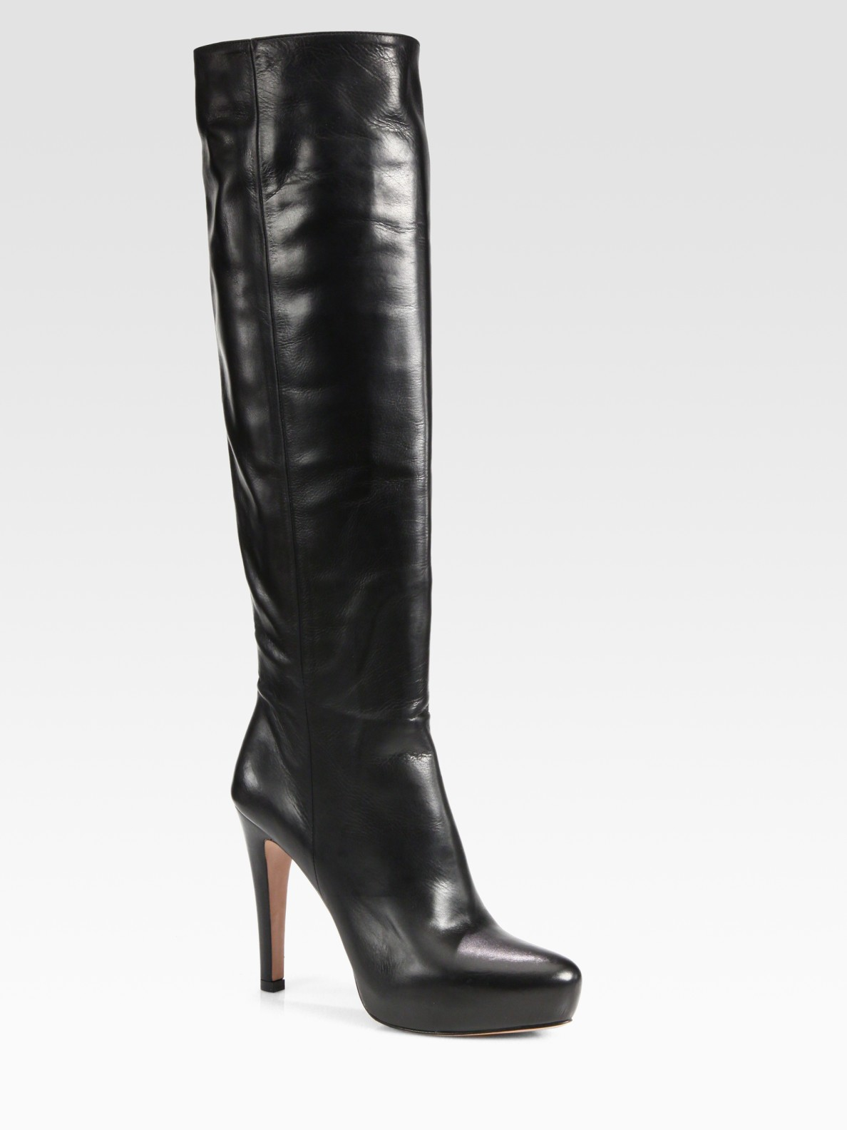 Lyst Prada Leather Over The Knee Platform Boots In Black