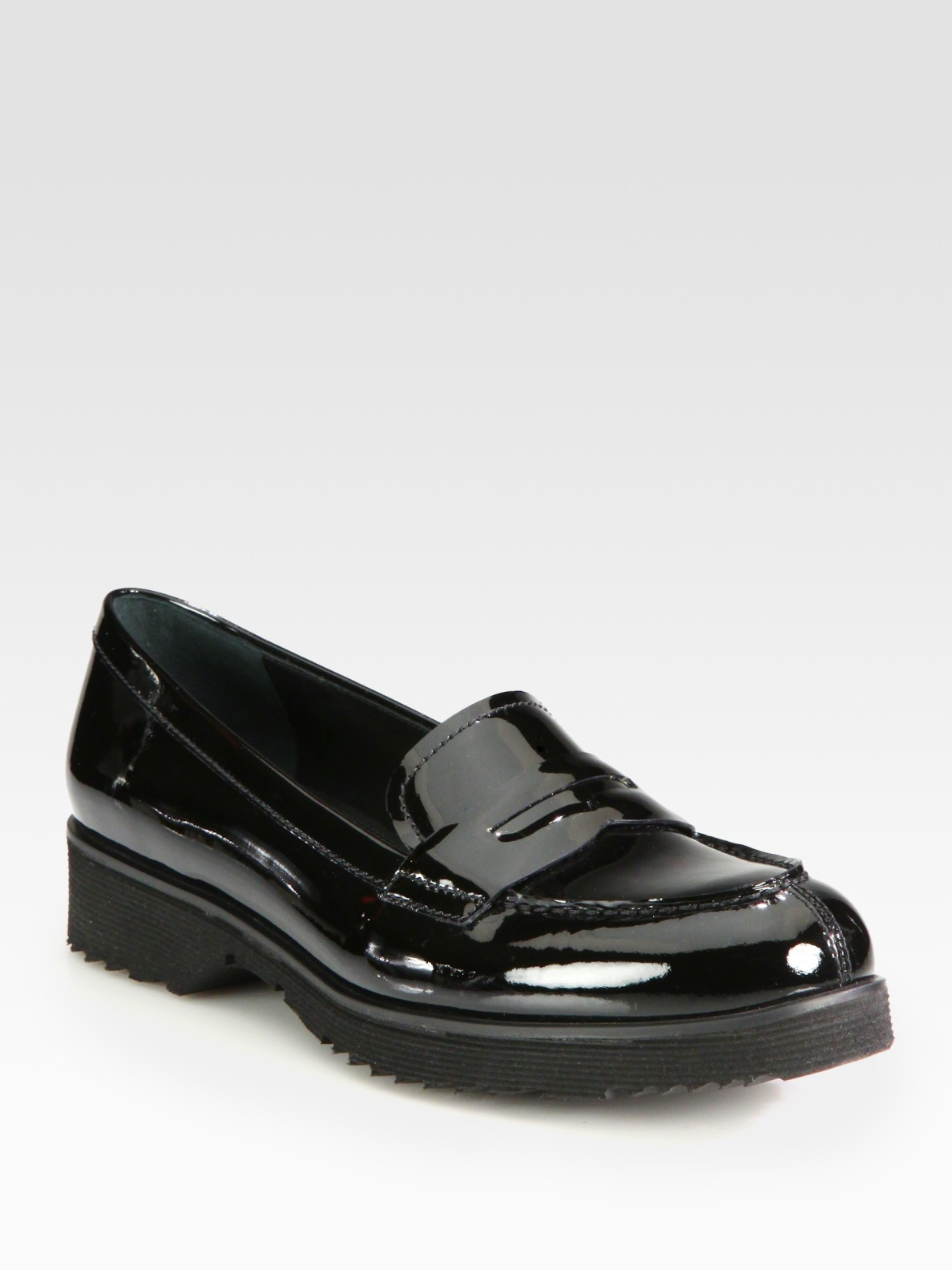 Lyst Prada Patent Leather Penny Loafers In Black