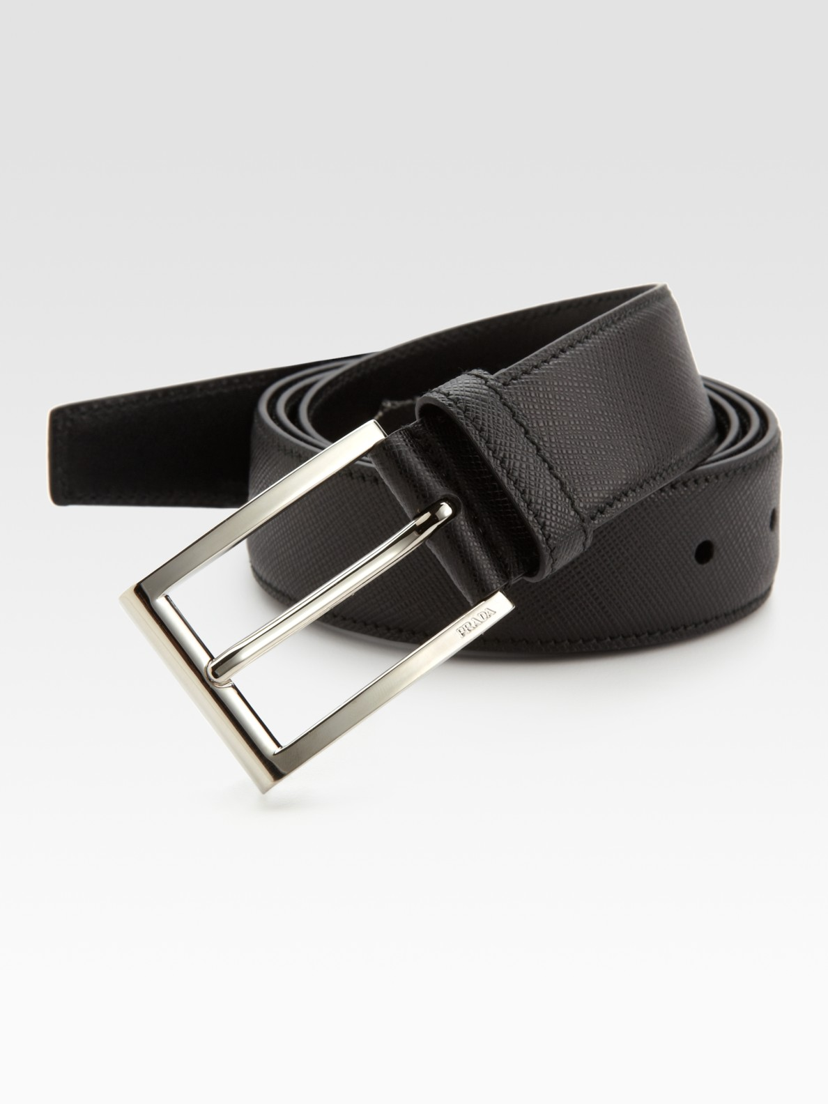 Prada Saffiano Dress Belt In Black For Men