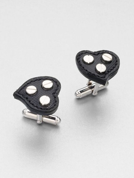 Prada Saffiano Heart Cuff Links in Black for Men - Lyst