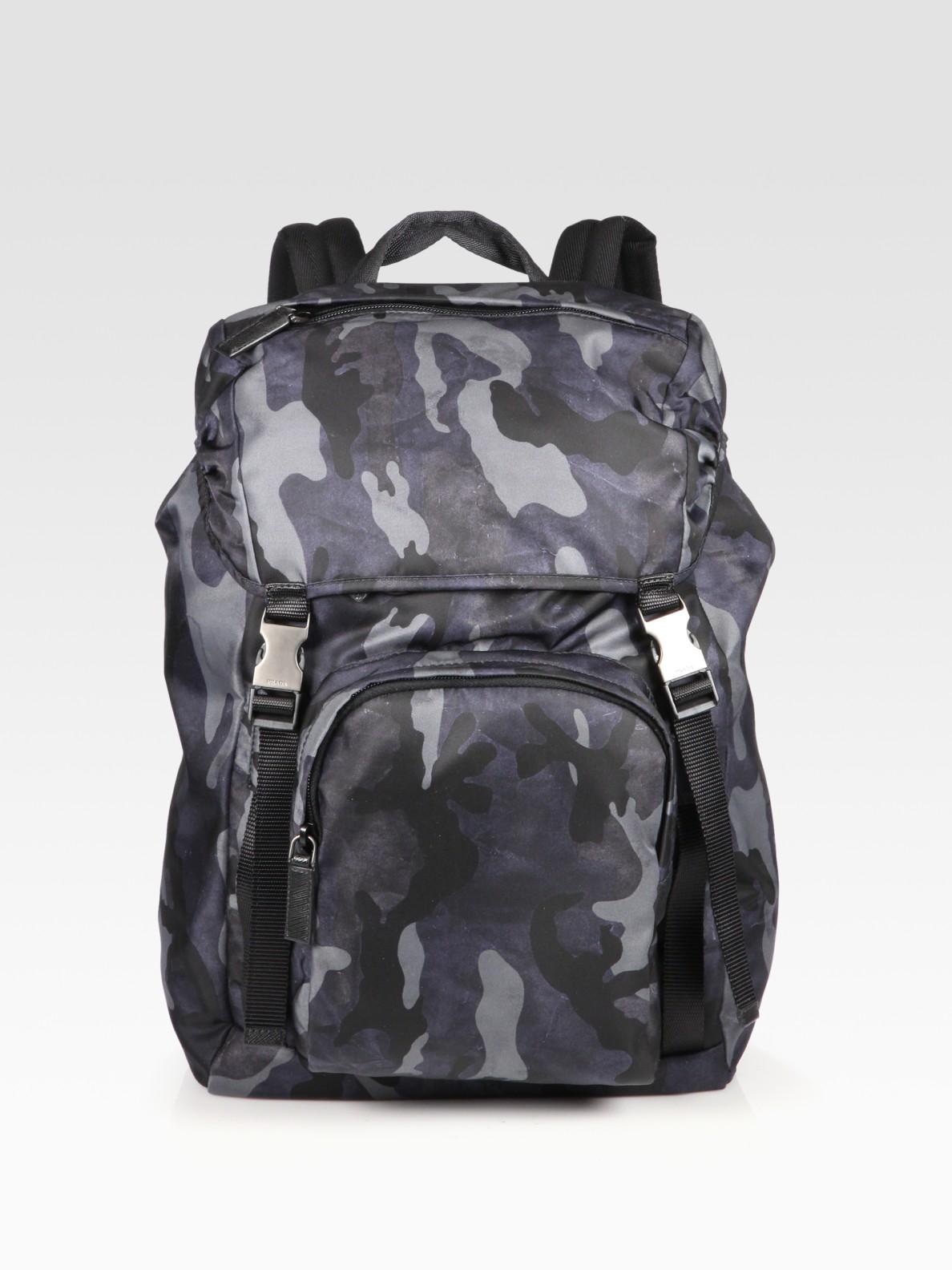 b966ccb2e17c28 Prada Zaino Camo Backpack in Blue for Men | Lyst. Prada Cloth ...