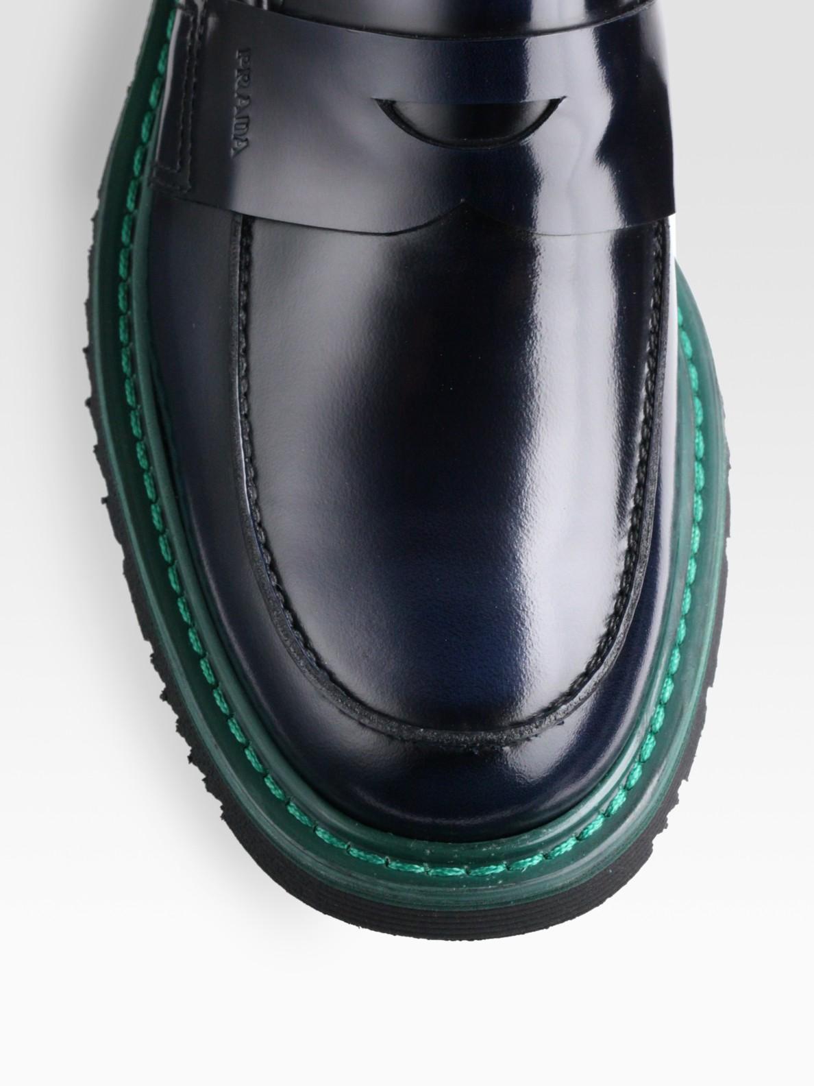 1413bdde066 Lyst - Prada Spazzolato Bi Color Penny Loafer in Blue for Men