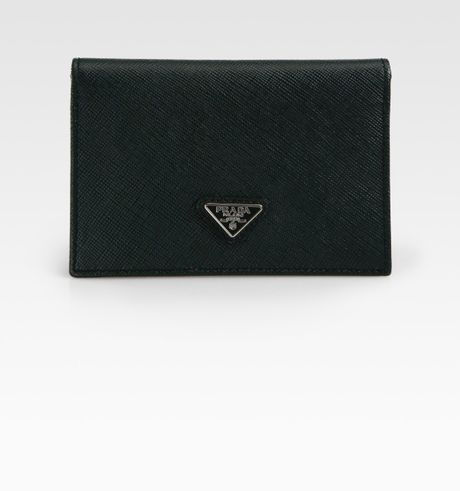 Prada Vertical Bicolor Card Case in Green for Men - Lyst