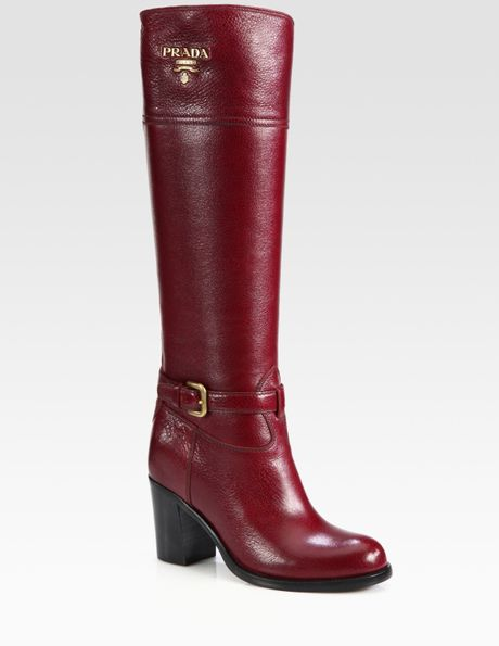 prada leather buckle knee high boots in lyst