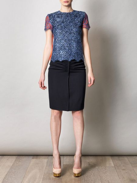 Preen Enid Sequin and Lace Top in Blue (navy) - Lyst