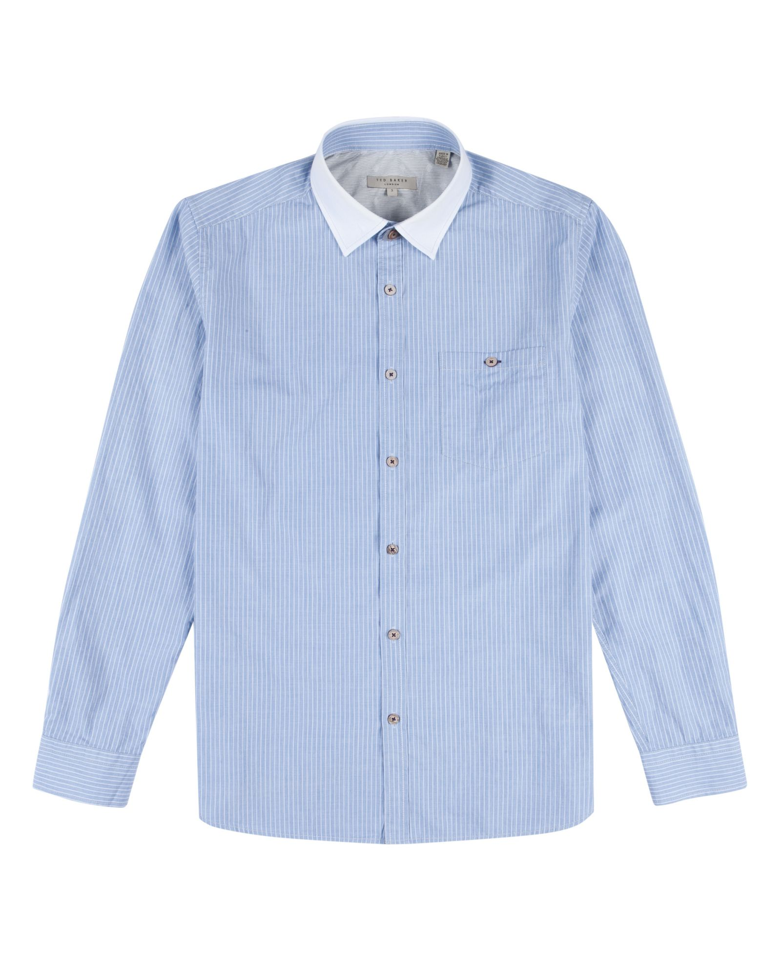 Ted baker brinza laundered striped shirt in blue for men for Ted baker blue shirt