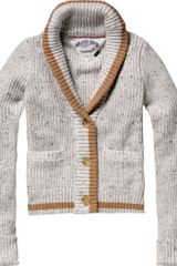 Tommy Hilfiger Idda Long Sleeved Cardigan in Gray (tan) - Lyst