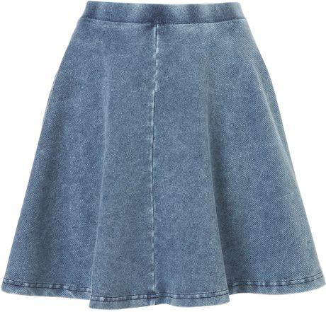 topshop denim skater skirt in blue lyst