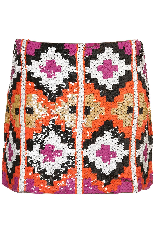 Topshop Premium Aztec Sequin Skirt | Lyst