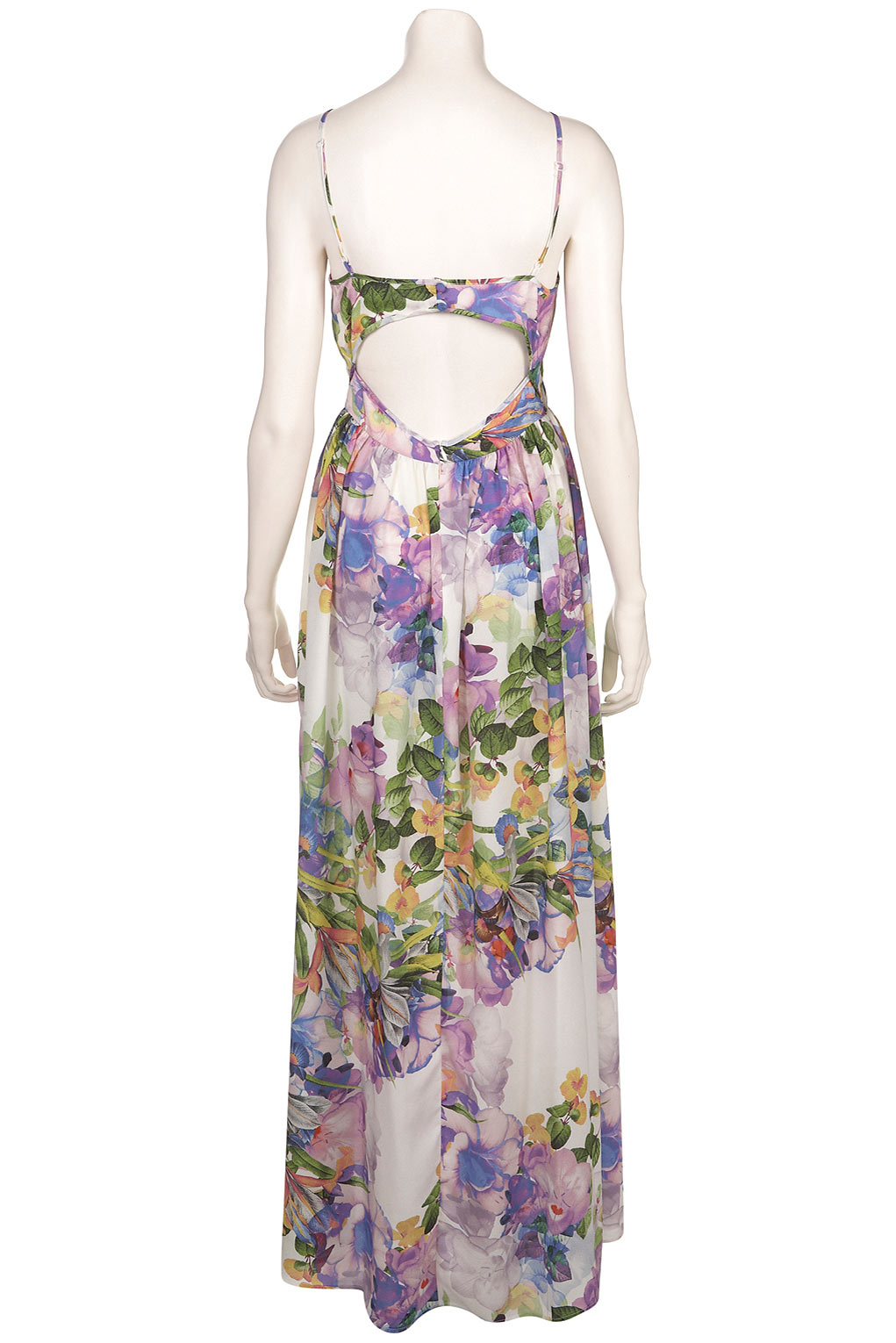 Lyst Topshop Floral Print Cutout Maxi Dress In White