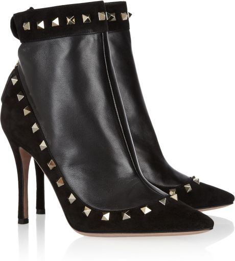 Valentino Studded Suede and Leather Ankle Boots in Black - Lyst