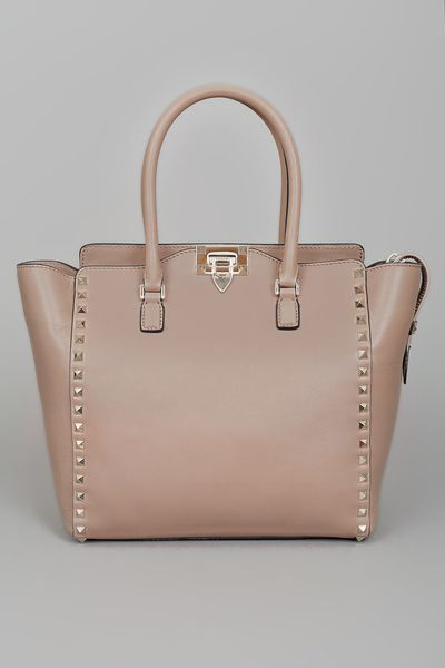 Valentino Rock Star Studded Shopper  in Beige - Lyst