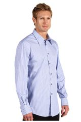 Versace Long Sleeve Pinstripe Button Down Shirt in Blue for Men (b) - Lyst