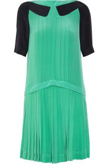 Victoria, Victoria Beckham Pleated Silk Crepe Mini Dress - Lyst