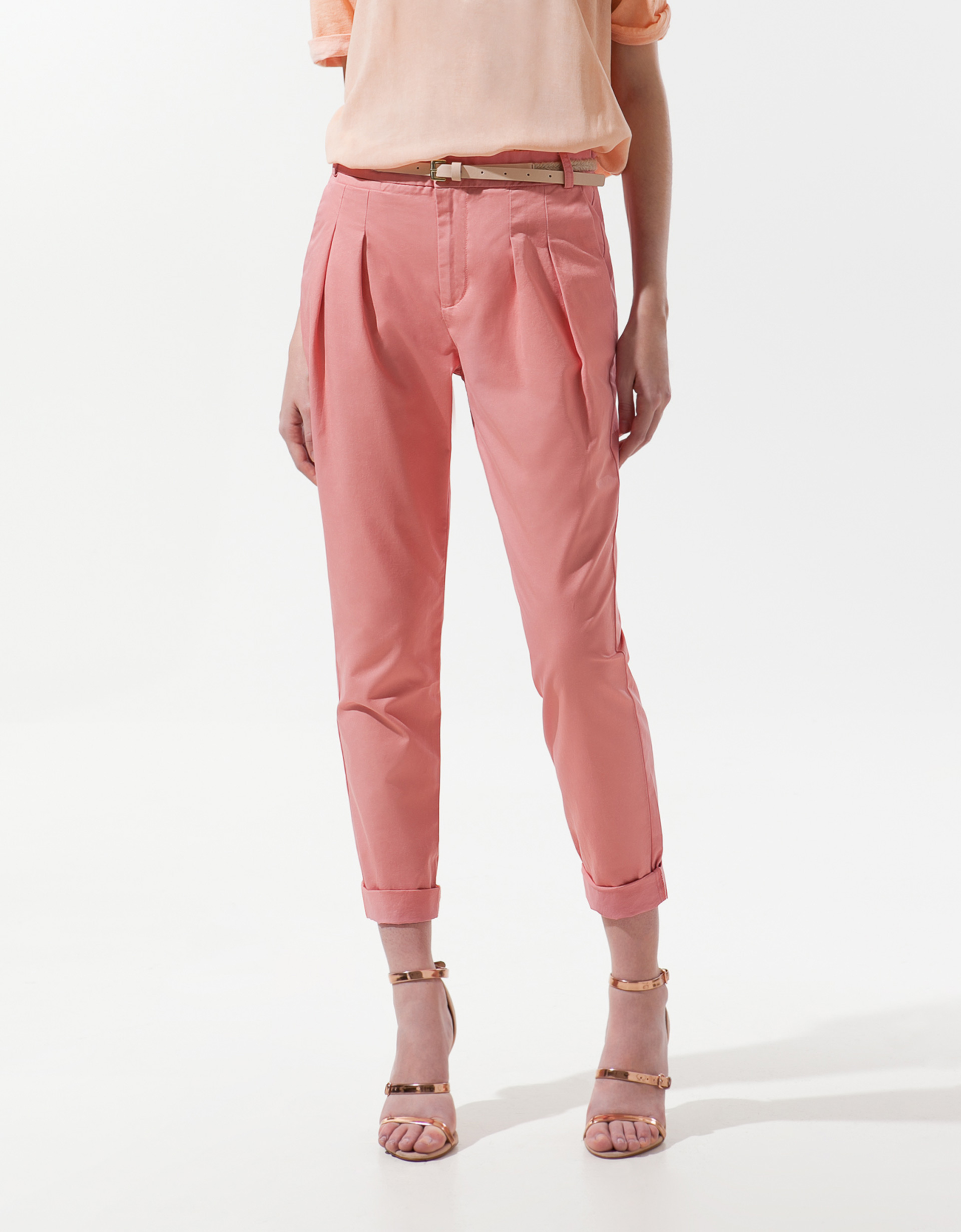 Zara Pleated Trousers in Pink | Lyst