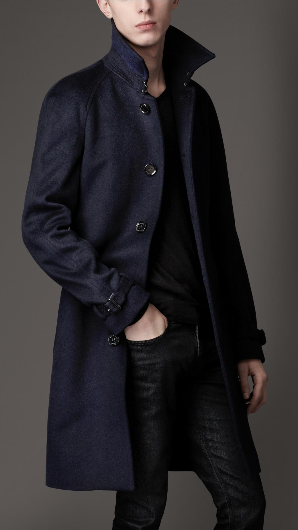 Burberry Midlength Wool Cashmere Trench Coat in Blue for Men | Lyst