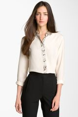 Equipment Sophie Snake Print Trim Silk Shirt - Lyst