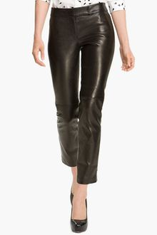 Milly Slim Leg Leather Ankle Pants - Lyst