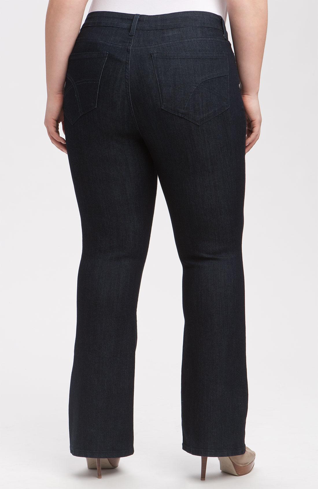 nydj 39 barbara 39 stretch bootcut jeans in black dark enzyme. Black Bedroom Furniture Sets. Home Design Ideas
