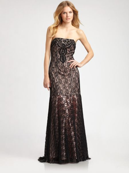 Sue Wong Beaded Lace Gown in Gray (black) - Lyst