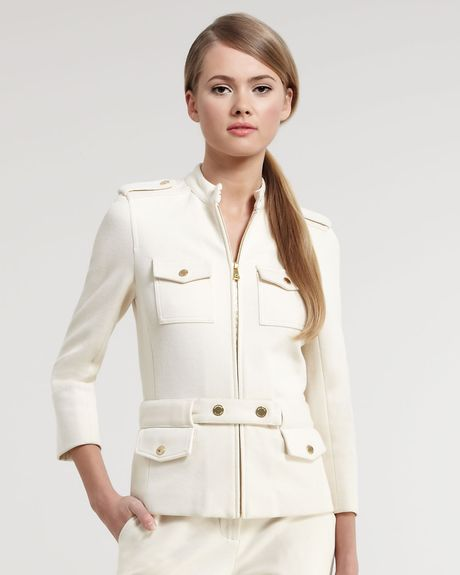 Tory Burch Havelil Military Jacket in White (milk opal) - Lyst