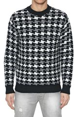 Les Copains Houndstooth Wool Knit Sweater - Lyst