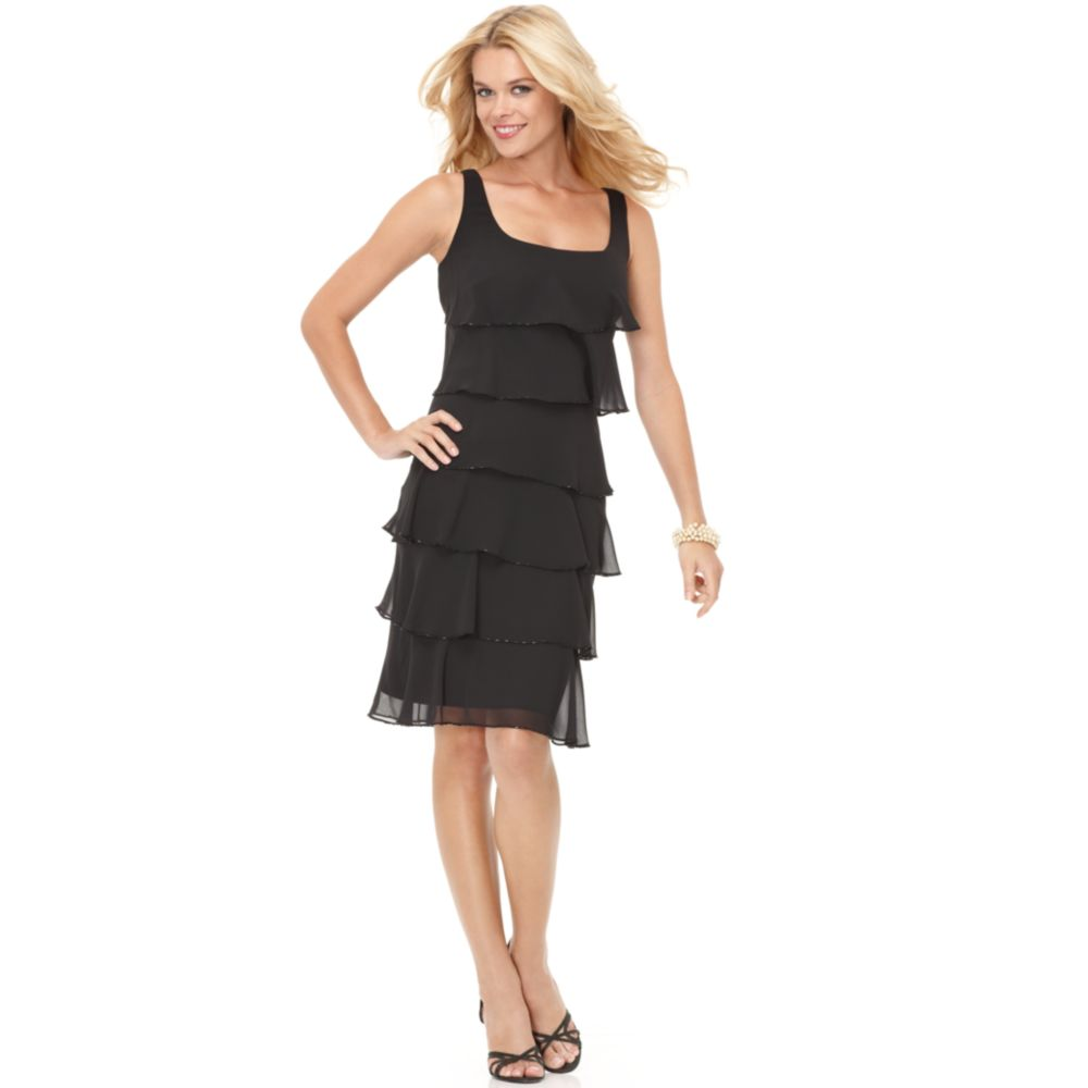 Patra Sleeveless Tiered Cocktail Dress in Black  Lyst