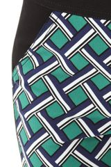 10 Crosby By Derek Lam Seamed Lattice Print Pants in Green - Lyst