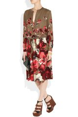 Gucci Floralprint Silkgeorgette Dress in Brown (floral) - Lyst