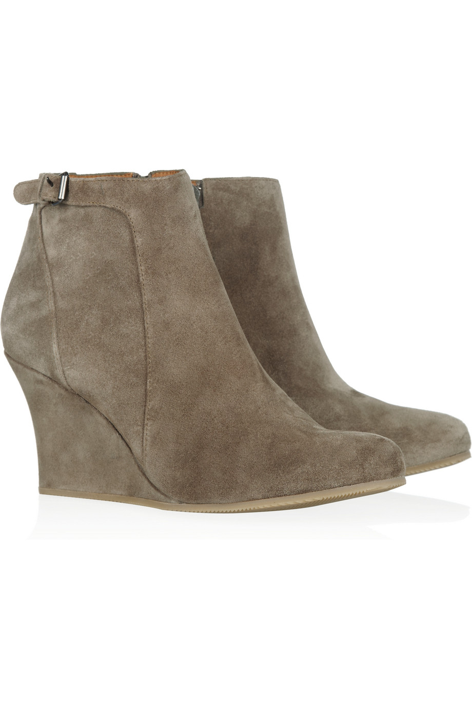 lanvin suede wedge ankle boots in brown taupe lyst