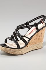 Prada Leather Wedge Sandal - Lyst