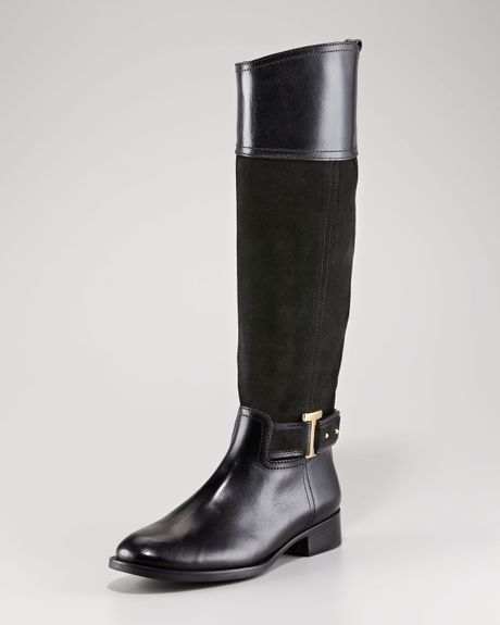 Tory Burch Tenley Suede Riding Boot in Black (black black) - Lyst