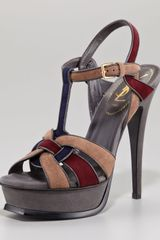 Yves Saint Laurent Kidskin Tribute Sandal Multicolor - Lyst