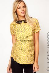 Asos Top with Crochet Collar - Lyst