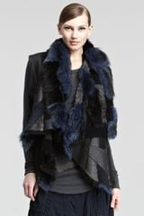 Donna Karan New York Shearlingpatchwork Reversible Vest - Lyst
