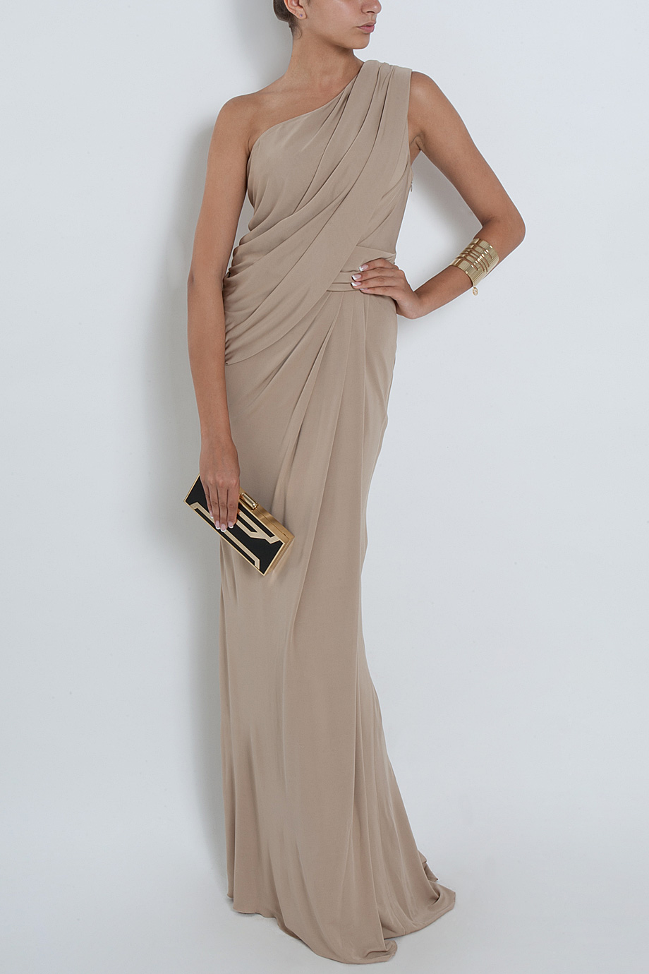 Lyst - Elie Saab One Shoulder Draped Gown in Natural