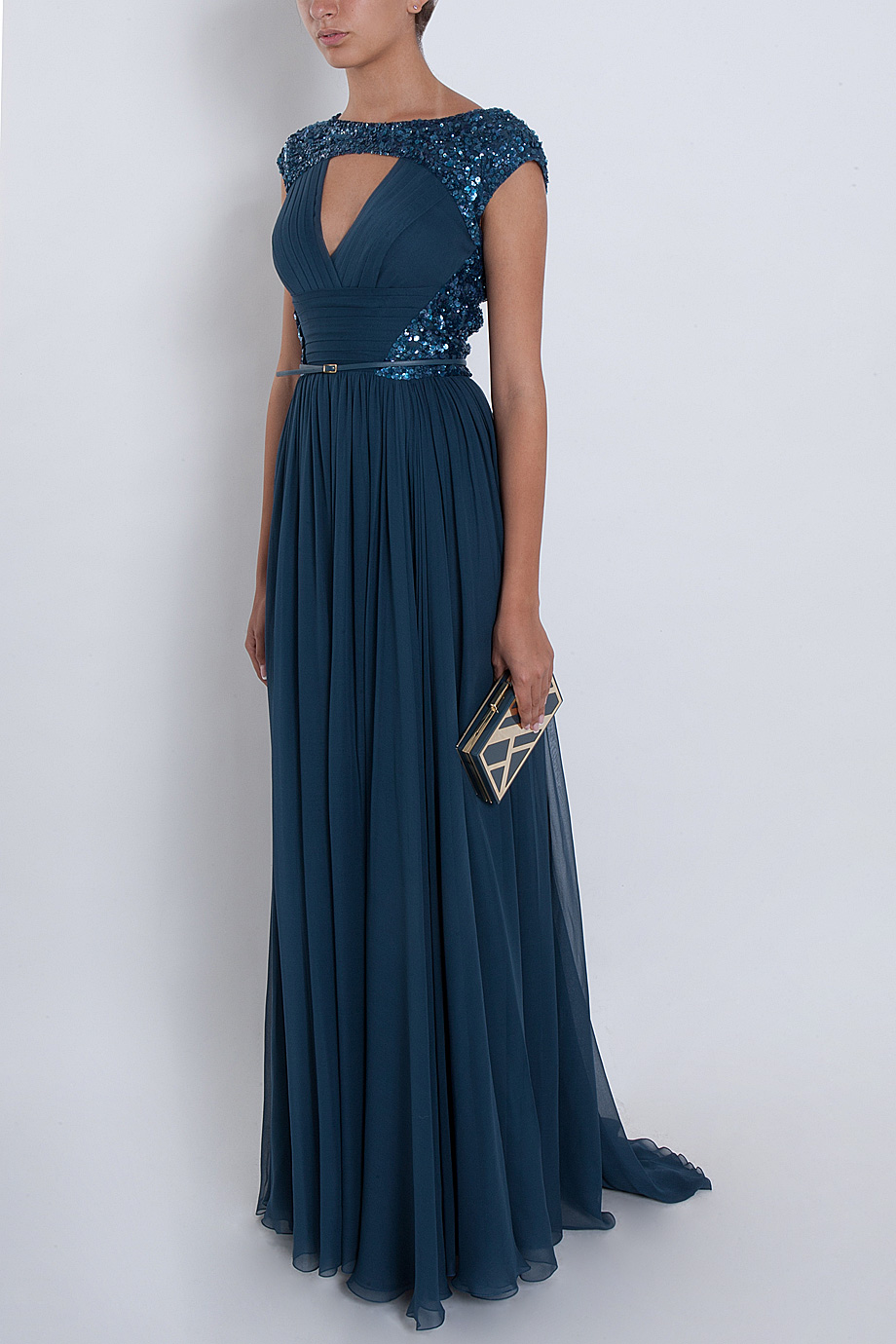 Lyst Elie Saab Chiffon Beaded Cap Sleeve Gown In Blue